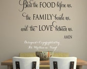 Bless the food before us  22 x 30 -faith-Vinyl Lettering wall words graphics Home decor itswritteninvinyl