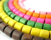 Wood Tube Beads, Assorted Color 300pc, 7x6mm