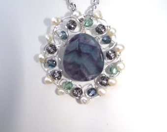 Wire wrapped fluorite and pearl Pendant