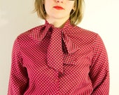 RESERVED for alice SALE Small Red Print 70's Bow Tie Collar Button-Up Blouse
