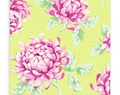 Freshcut Fabric, Painted Mums in Green by Heather Bailey for Free Spirit- 1 yard