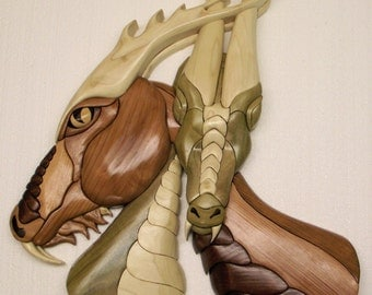 "Dragon Love, 16"" X 21"", Intarsia wood art Original"