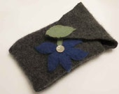 Cell Phone Case Cover Sleeve Cozy  - Tech Sleeve - iPhone - Smart Phone - Camera - OOAK Upcycled Cashmere Blue Flower