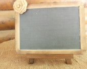 Rustic Chic CHALKBOARD Sign - 7x10 Size with Cute Burlap Flower and EASEL- Natural or Rustic Stain