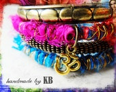 Stack of Bangle Bracelets - OM Charm, Yoga Inspired, Sari Silk, Boho