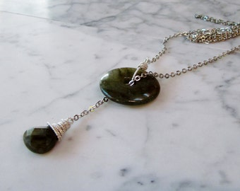 Labradorite and Silver Chain Upper Chakra Balancing and Healing Lariat Necklace