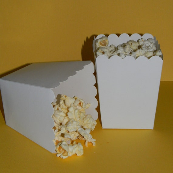 White Popcorn Boxes Set of 10 by YourPartyShoppe on Etsy