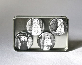 Young Girls in Black and white Drawings by Edward Gorey on Round Ceramic Magnets for Office or Home Decor