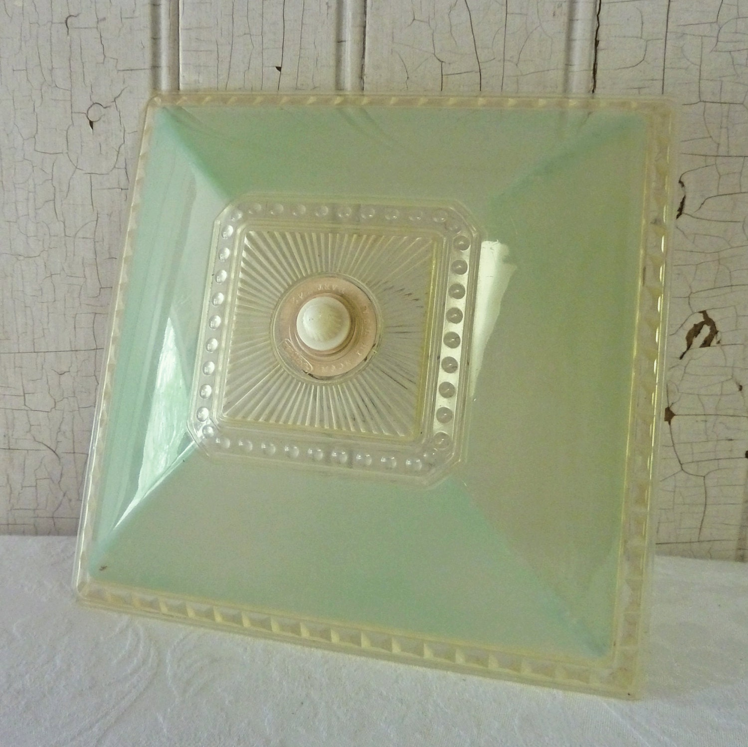 Ceiling Light Covers Clip On : Pale green square clip on plastic ceiling light cover s
