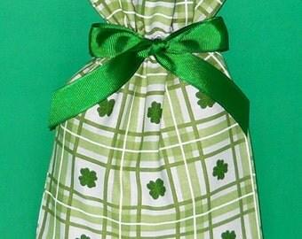 Four Leaf Clover Plaid Small Fabric Gift Bag - Irish, Ireland, Shamrock, St. Patrick's Day, Green, White, Lucky