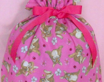 Bunny Rabbit on Pink Large Fabric Gift Bag - Easter, Bunnies, Rabbits, Flowers, Ladybugs, Bees, Blue, Brown, Beige, White, Red, Black