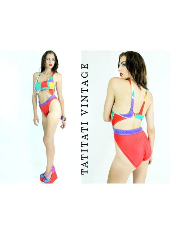 Vintage 80s Swimsuit MONOKINI Jantzen Cut Out Bathing suit  // Vintage Clothing by TatiTatiVintage on Etsy