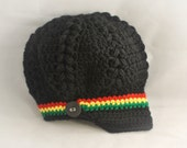 Bob Marley Newsboy Hat, Crochet Newsgirl Hat, Puff Stitch Hat, Photo Prop Hat, MADE TO ORDER, Sizes Newborn to 3 Years