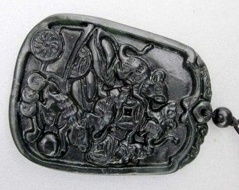 Natural Stone Five Bats Cart Yuanbao Coins Amulet Pendant 48mm x 37mm  TH081