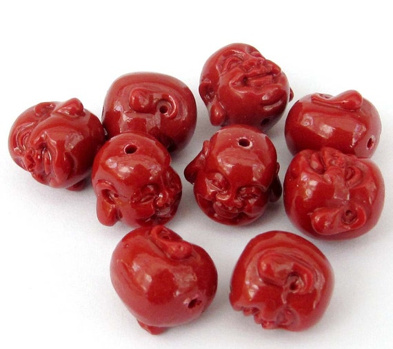 8Pcs Red Coral Tibet Buddhist Laughing Buddha Head Beads Finding  ja542