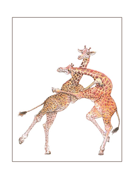 5 Animal Love Note Cards Swing Dancing Giraffes Romance Playful Hand Drawn Any Occasion