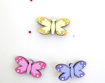Nursery Mobile - Butterflies mobile decor,wooden yellow, purple and pink butterflies wall art - colorful mobile, baby mobile,animals mobile