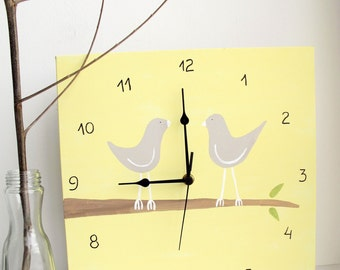 Love birds Wall clock- birds on a branch yellow and grey clock  -unique gift, wedding gift-  Decorative  hand painted Square clock