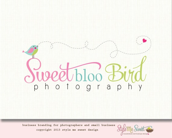 Premade Bird Logo Photofraphy Logo Design Hand Drawn Logo OOAK Never Resold