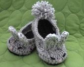 Gray and Black Crochet Bunny Slippers