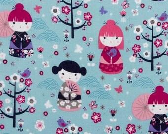 Japanese Girl Dolls - Blue - 1 yard