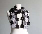 Crochet lariat scarf, Women Grey scarf, Crochet Flower scarf, Crochet necklace, Womens accessories, Fashion scarf, Crochet jewelry