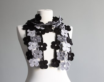 Crochet lariat scarf, Women Grey scarf, Crochet Flower scarf, Crochet necklace, Womens accessories, Fashion scarf, Crochet jewelry