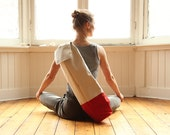 yoga bag - waxed cotton with leather strap