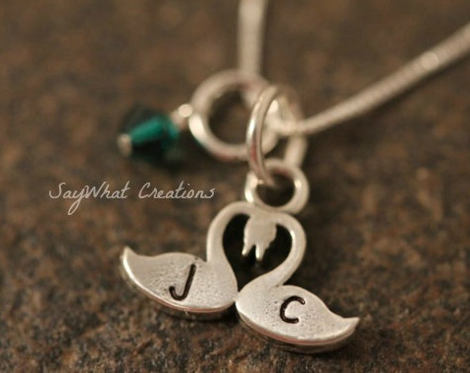 Sterling Silver Kissing Swans Necklace Hand Stamped with Two Initials