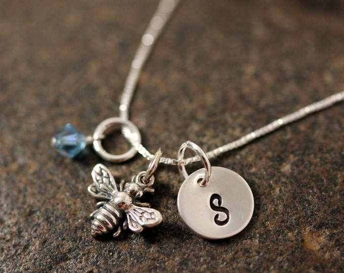 Sterling Silver Mini Initial Stamped Charm Necklace Bumblebee Honey Bee