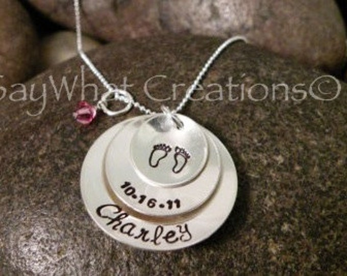 Custom Hand Stamped Stacked and Domed 3 Disk Necklace baby feet, birthday, and name