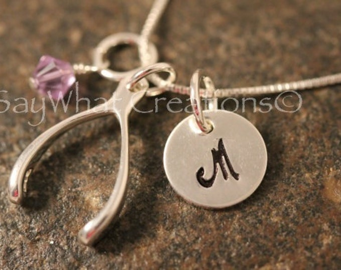 Sterling Silver Mini Initial Hand Stamped Wishbone Charm Necklace