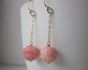 Sjans goldfilled earrings with coral