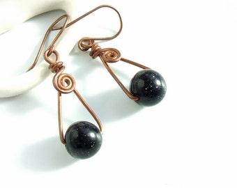 Goldstone triangle earrings, galaxy night blue copper jewelry, unique elegant gift for women