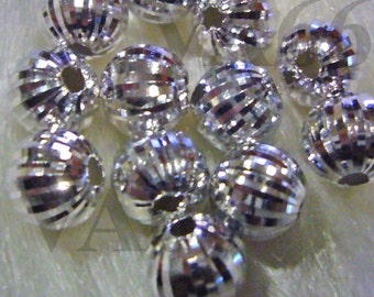 925 Pure Sterling Designer Silver Bali Beads Round 4p Size 8mm with Design Jewelry making findings, parts, loose beads