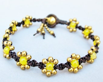 Daisy Flower Line with Lemon Quartz Bracelet  B274