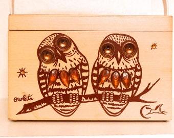 Enid Collins of Texas Owlets Purse Vintage Owls Wooden Box Bag Painted birdwatcher handbag Authentic Texas Designer 1960s 1970s Hoot Owl