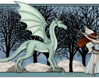 Watercolor fantasy art print, faerie with a Dragon art print, grey and teal, mint green
