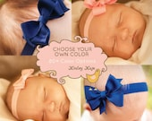 Baby Headband, Combo Pack - Single Layer Pinwheel, Bowtie, Double Layer Kinley, Petite Loopy Baby -  ANY colors YOU choose, Baby Shower Pack