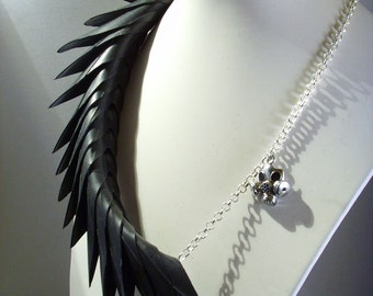 Post apocalyptic black rubber spine necklace upcycled jewellery