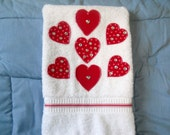 Valentine Hand Towel Simply Hearts for Kitchen or Bathroom