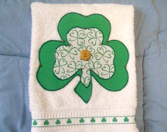St Patricks Day Hand Towel Simply Shamrocks Kitchen of Bathroom