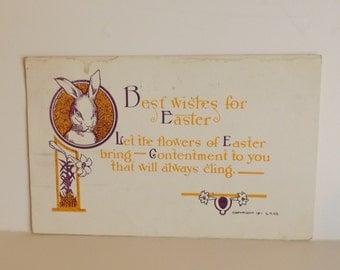 Antique Easter bunny postcard white rabbit with poem Art Nouveau post card vintage ephemera