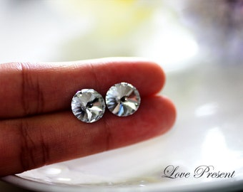 Swarovski Crystal Stud Grand Button Chic Earrings - Color Clear Crystal  - Hypoallergenic or Metal post - Choose your post