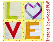 LOVE heart Quilt blocks pattern paper pieced letters  INSTANT DOWNLOAD
