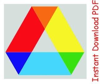 Rainbow hexagon Paper Pieced Quilt Block INSTANT DOWNLOAD PDF pattern
