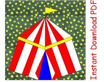 Circus tent chapito paper pieced quilt block PDF pattern INSTANT DOWNLOAD