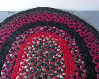Purple and Red Braided Rug