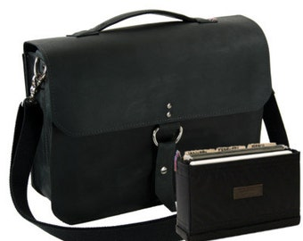 "14"" Black Rockport Midtown Leather Briefcase - Made in America"