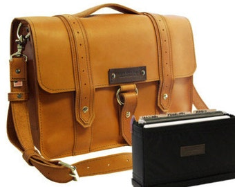 "15"" Sunrise Belmar Voyager Leather Briefcase - Made in America"
